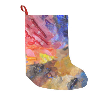 painter's colourful  artist palette small christmas stocking