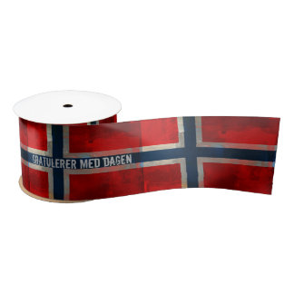 Paintery Grunge Norwegian Flag Ribbon Satin Ribbon