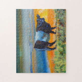 Painting belted galloway cow at the beach jigsaw puzzle