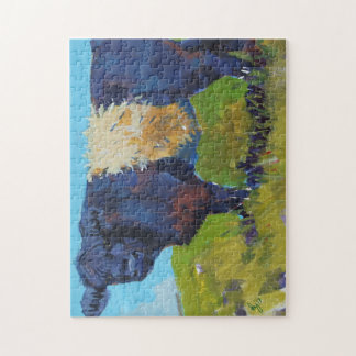 Painting belted galloway cow on Dartmoor Jigsaw Puzzle
