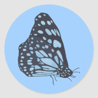 Painting Black Butterfly Blue Spots Stickers