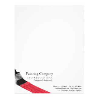 Painting Brush Red Color - Letterhead