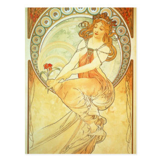 Painting by Alphonse Mucha Postcard