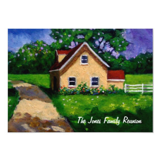 """Painting: Country Cottage: Family Reunion 5"""" X 7"""" Invitation Card"""