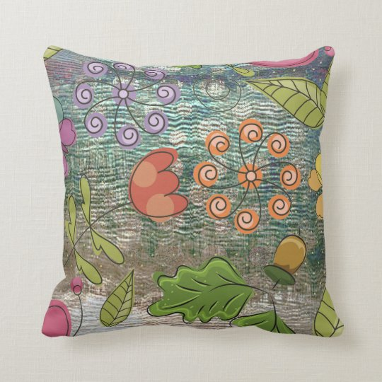 Painting Floral Abstract Green Pink Orange Throw Pillow