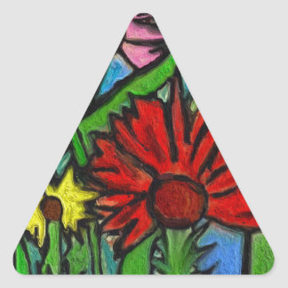 Painting Flowers Through Autistic Eyes Triangle Sticker