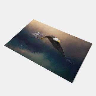 Painting flying american bald eagle doormat