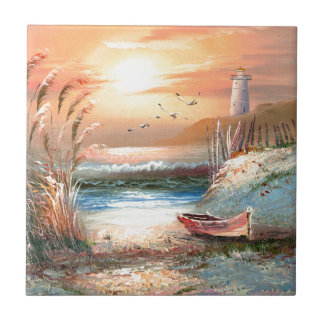 Painting Of A Beached Rowboat Near A Lighthouse Tiles