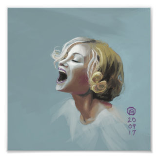Painting of a Blonde Girl Laughing Photo Print