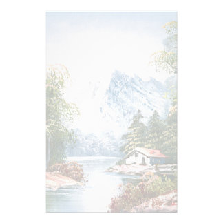 Painting Of A Cabin Along A Mountain River Stationery