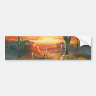 Painting Of A Colorful Desert Sunset Painting Bumper Sticker