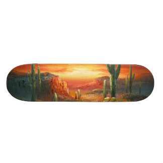 Painting Of A Colorful Desert Sunset Painting Skateboard