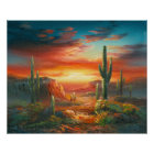 Painting Of A Colourful Desert Sunset Painting Poster