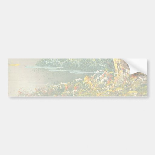 Painting Of A Fall River Scene Bumper Stickers