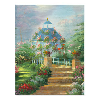 Painting Of A Flower Covered Gazebo In Summer Postcard