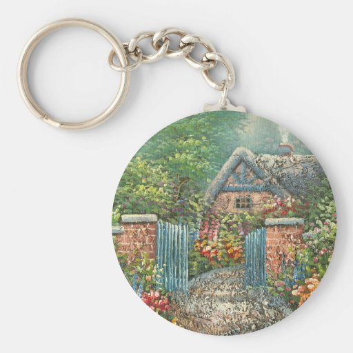 Painting Of A Gated Country Home Keychains