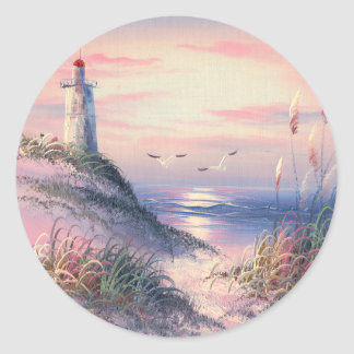 Painting Of A Lighthouse At Dawn Classic Round Sticker