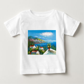 Painting Of A Mediterranean Seaside Village Baby T-Shirt