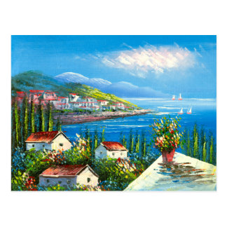 Painting Of A Mediterranean Seaside Village Postcard
