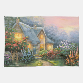 Painting Of A Rustic Fantasy Cottage Kitchen Towel