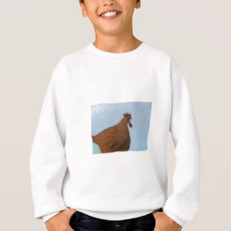 Painting of a rusty red chicken on blue sweatshirt