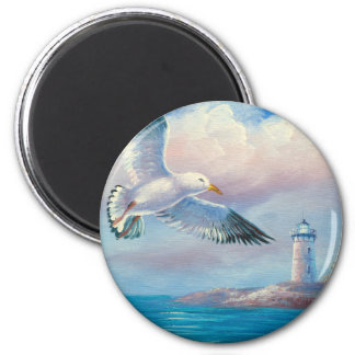 Painting Of A Seagull Flying Near A Lighthouse Magnet