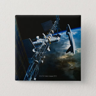 Painting of a Space Station Above Earth 2 Inch Square Button
