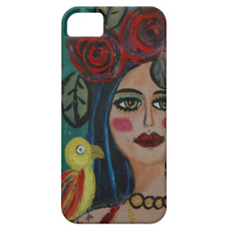 PAINTING OF A WOMAN WITH SMALL PARROT. iPhone 5 COVERS
