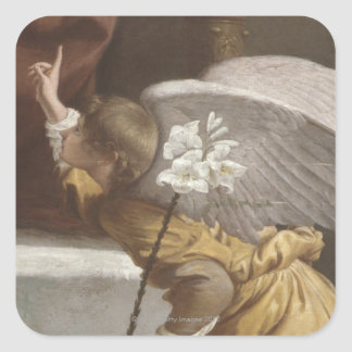 Painting of an angel pointing square sticker