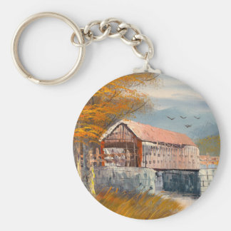 Painting Of An Old Pennsylvania Covered Bridge Basic Round Button Keychain