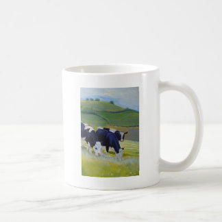 Painting of black and white holstein friesian cows coffee mug