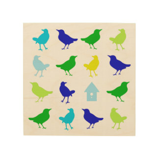 Painting of Colored Birds by Chariklia Zarris Wood Print