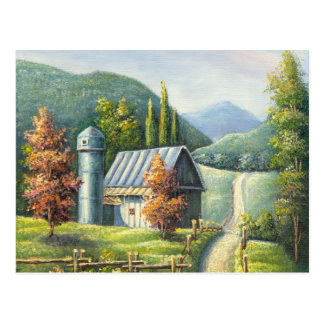 Painting Of Farm Country Dirt Road In Late Summer Postcard