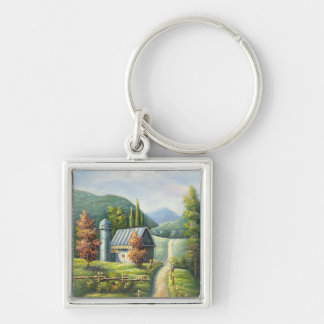 Painting Of Farm Country Dirt Road In Late Summer Silver-Colored Square Keychain
