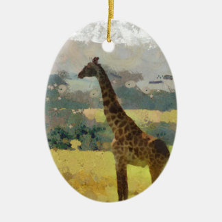 Painting of Giraffe on the Savannah in Africa Ceramic Oval Ornament