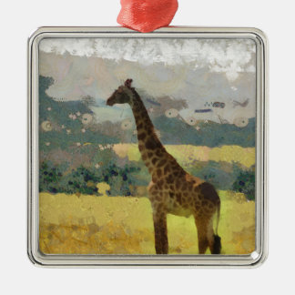 Painting of Giraffe on the Savannah in Africa Silver-Colored Square Ornament