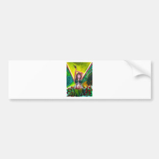 painting of girl in green bumper sticker