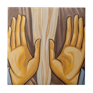 Painting Of Hands In A Church Tile