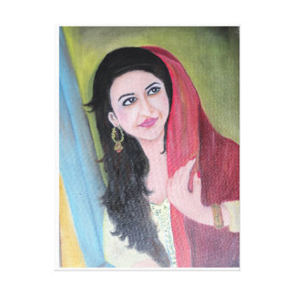 Painting of Indian lady looking out of window Canvas Print