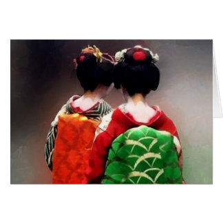 Painting of Japanese Maiko Card