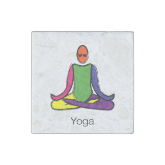 Painting of lotus yoga pose with yoga text. stone magnets