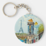 Painting Of Paris Eiffel Tower Scene Keychains