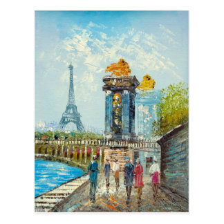 Painting Of Paris Eiffel Tower Scene Postcard