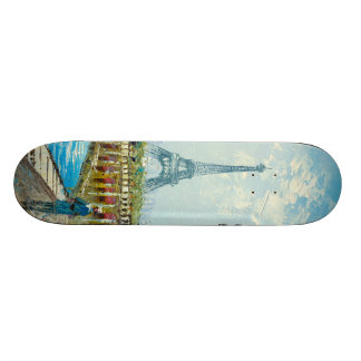 Painting Of Paris Eiffel Tower Scene Skate Decks