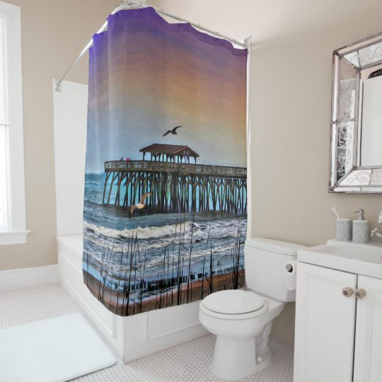 Painting of Pier at Myrtle Beach - Shower Curtain