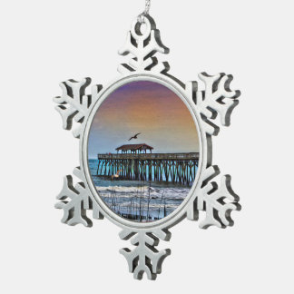 Painting of Pier at Myrtle Beach - Snowflake Ornam Pewter Snowflake Ornament