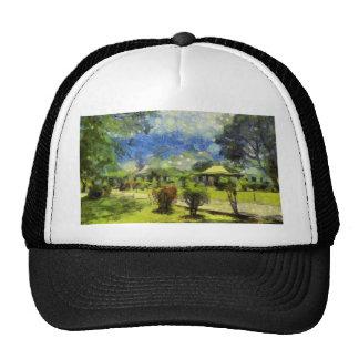 Painting of resort trucker hat
