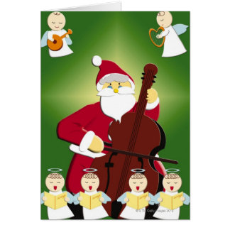 Painting of Santa Claus playing cello with Card