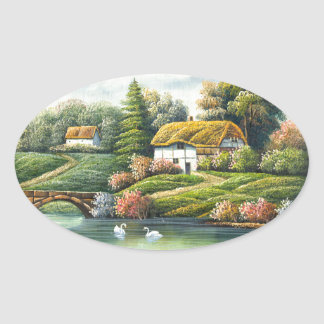 Painting Of Swans On A Lake Near A Home Oval Sticker
