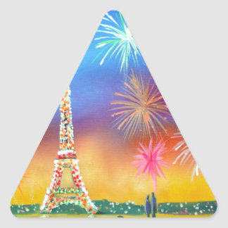 Painting of the Eiffel Tower in Paris Triangle Sticker